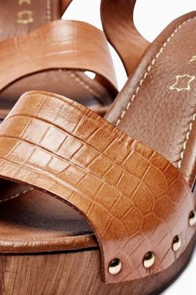 """1484c89ad Next Tan Leather Wood Look Sandals. """""""